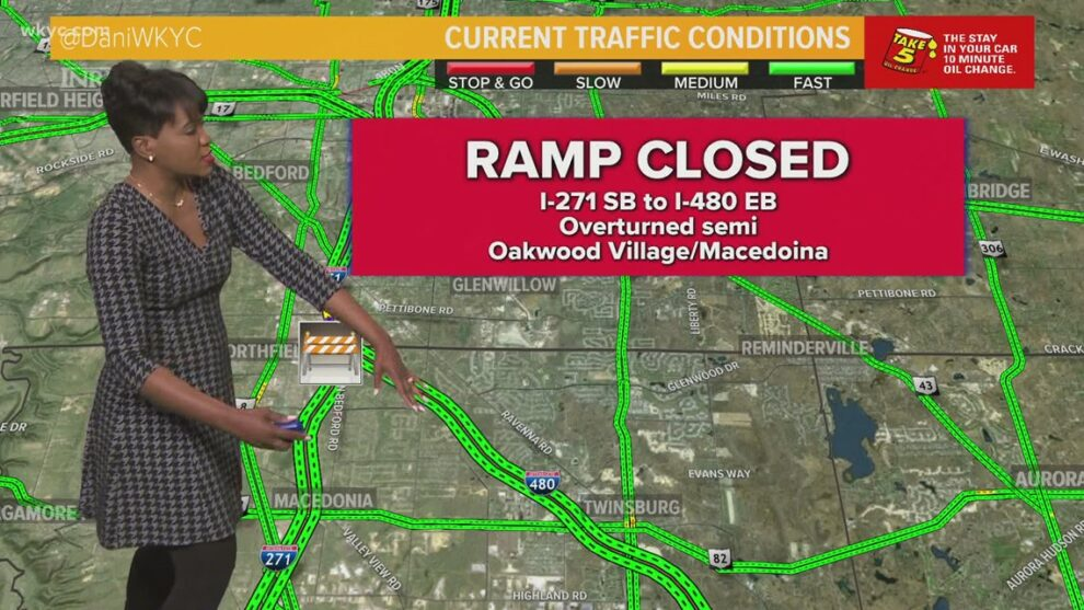 Semi crash closes ramp from I-271 South to I-480 East