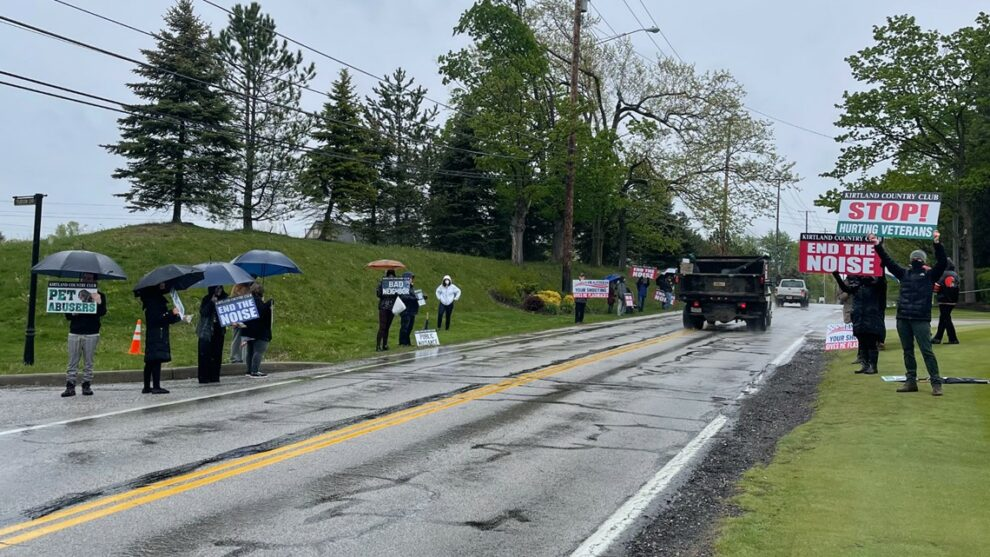 Protesters gather outside of Kirtland Country Club hoping to put an end to