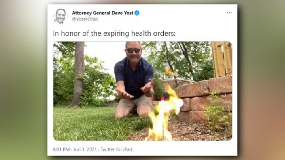 Watch: Ohio Attorney General Dave Yost burns mask on fire to celebrate end of COVID health orders