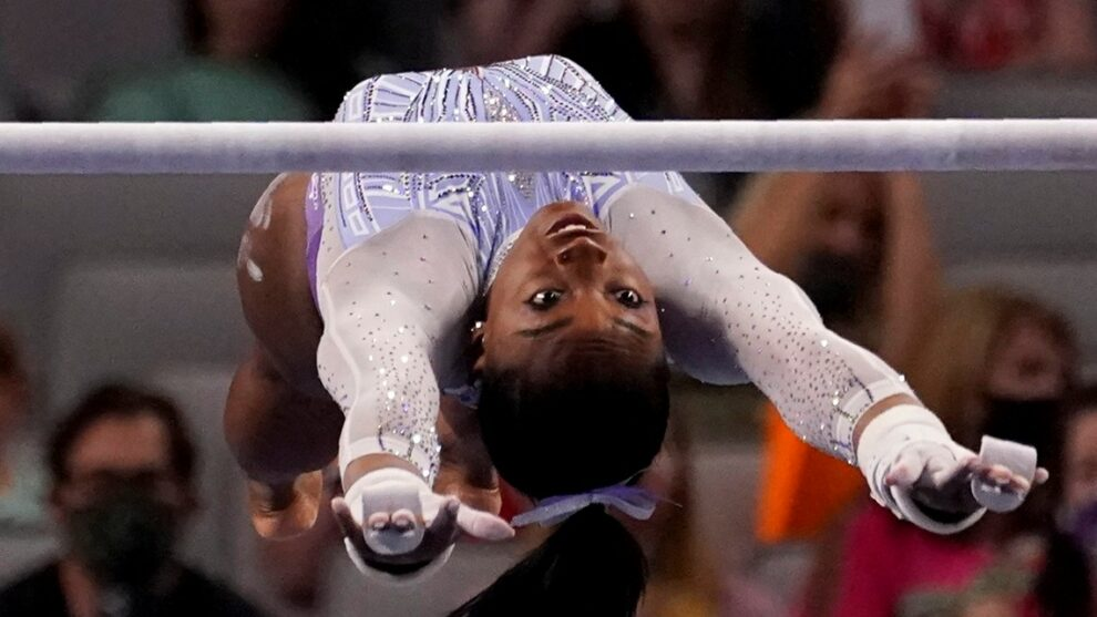 Biles owns first night of US Championships even without her new vault