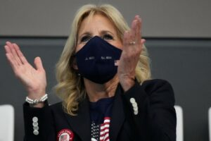 First lady Jill Biden cheers on US swimmers in Tokyo