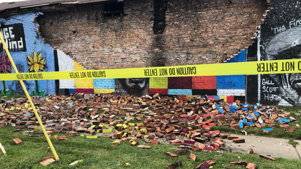 George Floyd mural in north Toledo reduced to rubble after being struck by lightning