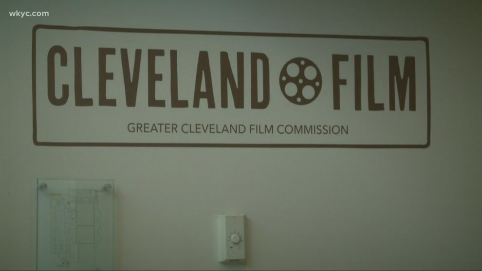Russ Mitchell talks with incoming Greater Cleveland Film Commission President Bill Garvey